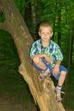 Συνεδρίαση αγοριών από ένα δέντρο Στοκ Φωτογραφίες