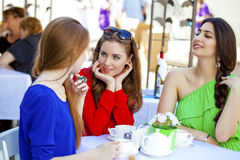 Συνεδρίαση γυναικών τριών ευτυχής φίλων σε έναν πίνακα το καλοκαίρι γ στοκ εικόνα
