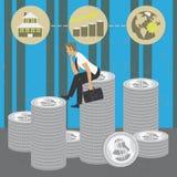 Συνεδρίαση επιχειρηματιών στα χρήματα που σκέφτονται την καλύτερη επένδυση διανυσματική απεικόνιση
