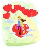 Συνεδρίαση ζευγών αγάπης στην καρδιά απεικόνιση αποθεμάτων