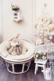 Συνεδρίαση κουνελιών βελούδου σε μια καρέκλα κύκλων κοντά στο άσπρο χριστουγεννιάτικο δέντρο Στοκ Εικόνες