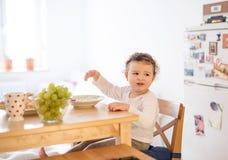 Συνεδρίαση μικρών κοριτσιών στον πίνακα, που τρώει το πρόγευμα Στοκ εικόνες με δικαίωμα ελεύθερης χρήσης