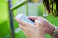 Συνεδρίαση νέων κοριτσιών στην πράσινη χλόη με το κινητό τηλέφωνο Στοκ Εικόνα