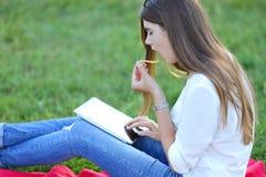 Συνεδρίαση νέων κοριτσιών στη χλόη στο πάρκο και εργασίες σε ένα lap-top και την κατανάλωση του γρήγορου φαγητού Στοκ εικόνα με δικαίωμα ελεύθερης χρήσης