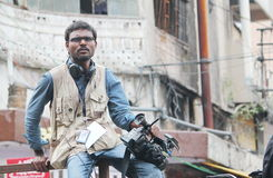Συνεδρίαση προσώπων MEDIA στο οδόφραγμα, Ινδία Στοκ εικόνα με δικαίωμα ελεύθερης χρήσης