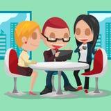 Συνεδρίαση του χαρακτήρα κινουμένων σχεδίων επιχειρηματικής μονάδας Στοκ εικόνα με δικαίωμα ελεύθερης χρήσης