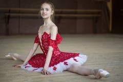 Συνεδρίαση Ballerina στο πάτωμα στις διασπάσεις που ντύνουν στο κόκκινο tut Στοκ εικόνες με δικαίωμα ελεύθερης χρήσης
