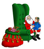 Συνεδρίαση Santa σε μια ψηλή πίσω καρέκλα φτερών ελεύθερη απεικόνιση δικαιώματος