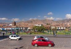 Συνηθισμένη ζωή στο κύριο τετράγωνο σε Cusco, Περού Στοκ φωτογραφίες με δικαίωμα ελεύθερης χρήσης