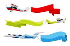 Συνημμένα εμβλήματα στα πετώντας αεροπλάνα Διανυσματική απεικόνιση στο ύφος κινούμενων σχεδίων ελεύθερη απεικόνιση δικαιώματος