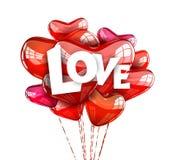 Συνθέσεις αγάπης με τα μπαλόνια Στοκ Φωτογραφίες