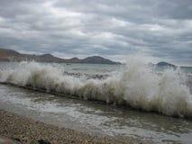 Συννεφιάζω τοπίο θάλασσας θύελλας στη Μαύρη Θάλασσα Στοκ φωτογραφίες με δικαίωμα ελεύθερης χρήσης
