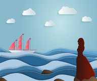Συνοδείες κοριτσιών που πλέουν το σκάφος σε ένα μακρύ ταξίδι Ερυθρά πανιά, Asso απεικόνιση αποθεμάτων