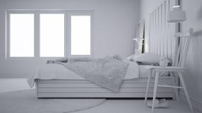 Συνολικό άσπρο πρόγραμμα της σύγχρονης κρεβατοκάμαρας, κρεβάτι με ξύλινο headboard, Σκανδιναβικό άσπρο eco κομψό ελεύθερη απεικόνιση δικαιώματος