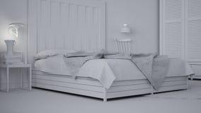 Συνολικό άσπρο πρόγραμμα της σύγχρονης κρεβατοκάμαρας, κρεβάτι με ξύλινο headboard, Σκανδιναβικό άσπρο eco κομψό απεικόνιση αποθεμάτων