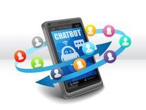 Συνομιλία συμβούλων Robo Chatbot με τις λεκτικές φυσαλίδες σε κινητό απεικόνιση αποθεμάτων