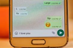Συνομιλία Whatsapp κειμένων στοκ εικόνα με δικαίωμα ελεύθερης χρήσης