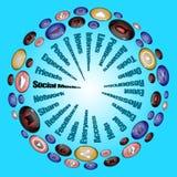 συνομιλίες έννοιας επικοινωνίας δεσμών που έχουν τους ανθρώπους μέσων κοινωνικούς Στοκ Φωτογραφίες