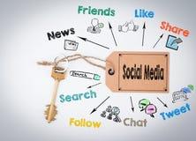 συνομιλίες έννοιας επικοινωνίας δεσμών που έχουν τους ανθρώπους μέσων κοινωνικούς Κλειδί και μια σημείωση για ένα άσπρο υπόβαθρο Στοκ φωτογραφία με δικαίωμα ελεύθερης χρήσης