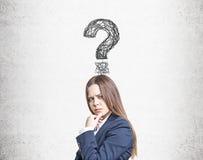 Συνοφρύά γυναίκα και ερωτηματικό Στοκ εικόνα με δικαίωμα ελεύθερης χρήσης
