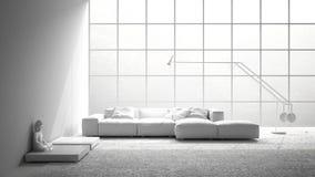Συνολική άσπρη σύγχρονη διαβίωση με τον καναπέ, τον τάπητα και το μεγάλο παράθυρο, μίνι Στοκ Φωτογραφία