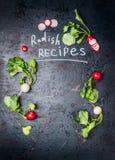 Συνταγές ραδικιών, που γράφουν στο αγροτικό εκλεκτής ποιότητας υπόβαθρο με τα ζωηρόχρωμα φρέσκα ραδίκια Στοκ Εικόνες