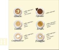 Συνταγές του καφέ Στοκ φωτογραφίες με δικαίωμα ελεύθερης χρήσης
