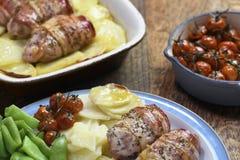 Συνταγή γεύματος κοτόπουλου και μπέϊκον Στοκ Εικόνα