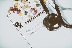 Συνταγή για τα φάρμακα ενάντια στις ασθένειες Στοκ Φωτογραφία