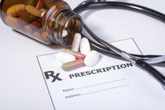 Συνταγή για τα φάρμακα ενάντια στις ασθένειες Στοκ Εικόνες