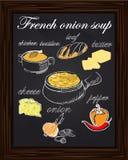 Συνταγή για τη σούπα κρεμμυδιών με τα πιπέρια, τυρί, βούτυρο, μια φραντζόλα, onio Στοκ φωτογραφία με δικαίωμα ελεύθερης χρήσης