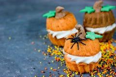 Συνταγή κολοκύθας αποκριών - πορτοκάλι cupcakes με μορφή ενός pum Στοκ Εικόνες