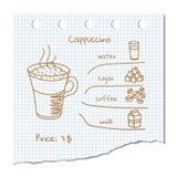 Συνταγή ποτών καφέ στοκ εικόνα
