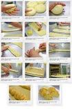 Συνταγή του άσπρου ψωμιού με την παρμεζάνα και το μαύρο πιπέρι Στοκ Φωτογραφίες