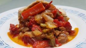 Συνταγή χοιρινού κρέατος με τα λαχανικά Στοκ Εικόνες