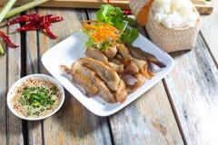 Συνταγή ψητού και σάλτσας χοιρινού κρέατος της Ταϊλάνδης Στοκ Εικόνα