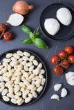 Συνταγή Gnocchi μοτσαρελών στοκ φωτογραφία