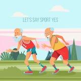 Συνταξιούχοι που συμμετέχονται ηλικιωμένοι στον αθλητισμό επίσης corel σύρετε το διάνυσμα απεικόνισης απεικόνιση αποθεμάτων