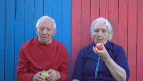 Συνταξιούχοι στο ξύλινο υπόβαθρο eco απόθεμα βίντεο