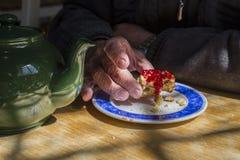 Συνταξιούχος που απολαμβάνει το αγγλικό τσάι κρέμας Στοκ φωτογραφία με δικαίωμα ελεύθερης χρήσης