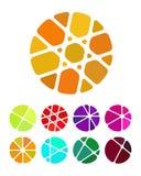 Συντετριμμένα αφηρημένα στρογγυλά λογότυπα ορθογωνίων Στοκ Εικόνες