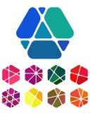 Συντετριμμένα αφηρημένα hexagon λογότυπα σχεδίου Στοκ Εικόνα