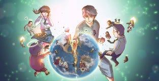 Συντετριμμένη γη superhero κινούμενων σχεδίων μεγάλη ισχυρή διανυσματική απεικόνιση