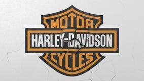 Συντετριμμένος συμπαγής τοίχος με το λογότυπο της Harley-Davidson Εννοιολογική εκδοτική τρισδιάστατη απόδοση κρίσης διανυσματική απεικόνιση