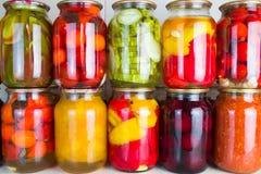 Συντηρημένα λαχανικά και συστατικά τροφίμων που τίθενται σε μια σειρά Στοκ Εικόνα