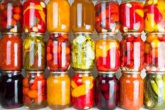 Συντηρημένα λαχανικά και συστατικά τροφίμων που τίθενται σε μια σειρά Στοκ Εικόνες