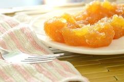 Συντηρημένος ανακατώστε τα ταϊλανδικά γλυκά τρόφιμα ανανά στο πιάτο Στοκ φωτογραφία με δικαίωμα ελεύθερης χρήσης