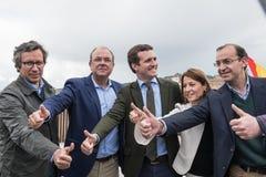 Συντηρητική δημοφιλής διάσκεψη κόμματος σε Caceres του ηγέτη του Pablo Casado των PP και του υποψηφίου για τον πρωθυπουργό στην Ι στοκ εικόνες