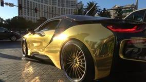 Συντονισμένο αθλητικό αυτοκίνητο στις οδούς του Λας Βέγκας - ΗΠΑ 2017 απόθεμα βίντεο