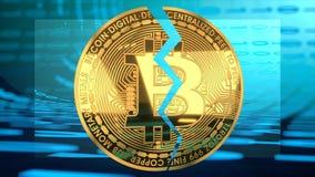 Συντριβή τιμών φυσαλίδων Bitcoin, γραφική παράσταση αξίας που πηγαίνει κάτω στοκ φωτογραφία